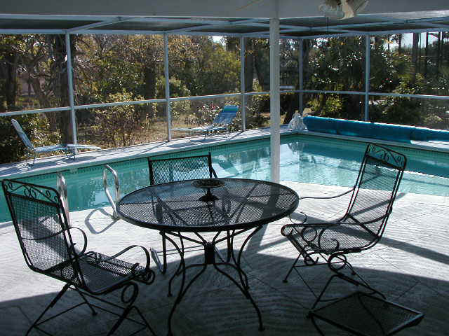 The pool area is has a screen enclosure and plenty of room for entertaining.